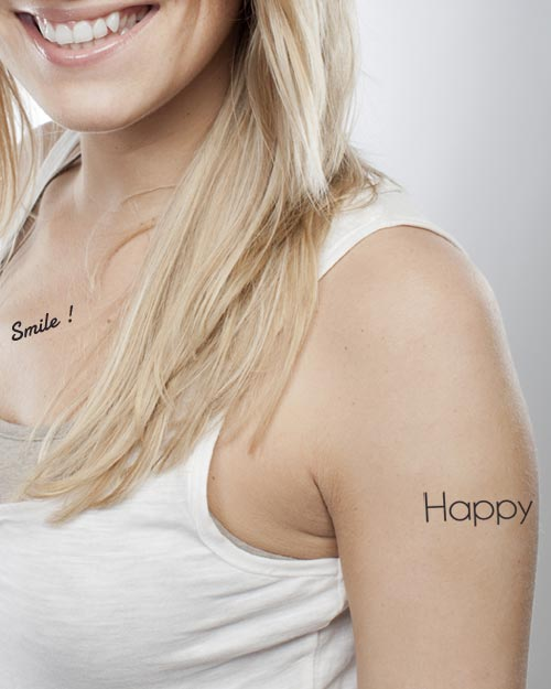 tatouage temporaire message happy