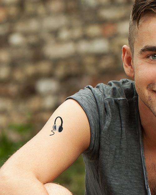Tatouages temporaires Tutti Tattoo musique casque