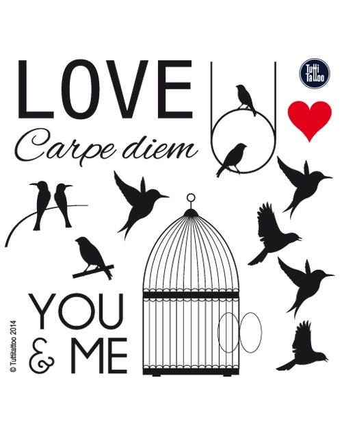Tatouage temporaire romantique oiseaux love carpediem