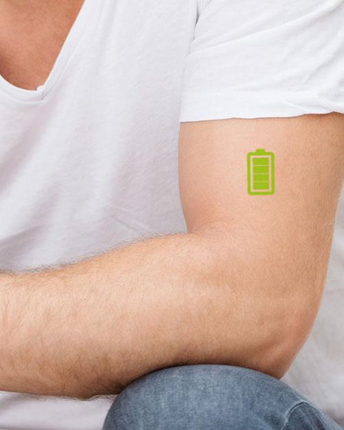 tatouage temporaire batterie verte1 tatouage temporaire tutti tattoo. Black Bedroom Furniture Sets. Home Design Ideas