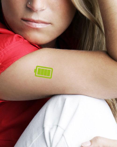 tatouage temporaire batterie verte2 tatouage temporaire tutti tattoo. Black Bedroom Furniture Sets. Home Design Ideas